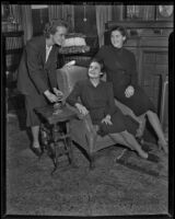 Mmes. A.C. Purgiss, Clement Molony, and Donald Woodford discuss program plans, Los Angeles, 1938-1939