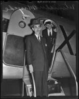 Diplomat Tetsuichiro Miyake exits his plane, Los Angeles, 1939