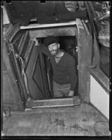 Bill Dugan below deck of the Mildura, Newport Beach, 1938-1939