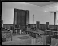 An empty courtroom in the Federal Building, Los Angeles, 1939