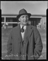 Stablemaster Malcolm Roger Mortimer at Santa Anita Park, Arcadia, 1934