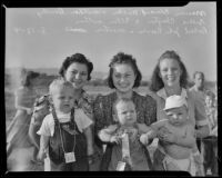 Dorothy Miller, Mrs. Elden Clayton, and Mrs. William Reeves with their babies - Marvin Edward, Billie Clayton, and Robert John, Montebello, 1941