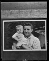 Ralph Emerson, actor, holds his son Frank Barton Emerson, Los Angeles, 1935