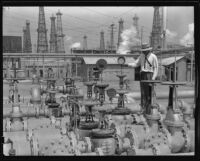 Oil field with gas regulator equipment by the Wilgus Manufacturing Company, California, circa 1931