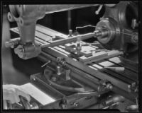 Lathe used for the production of brass horns at the F. E. Olds and Son plant, Los Angeles, 1933-1939