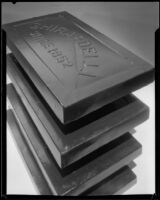 Four Ghirardelli chocolate bars photographed for an advertisement