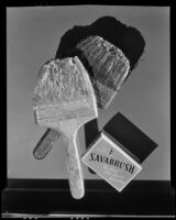 Dirty paint brushes in an advertisement photograph for Savabrush, 1925-1939