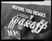 "Wood floor and box of ""Waxoff"" for an advertisement, 1925-1939"
