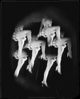 Photomontage created with repeated images of a woman with a raised knee, 1925-1939