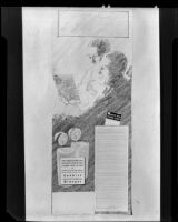 """Sketch of a man and woman reading a pamphlet titled """"Diet and Dental Health,"""" 1935"""