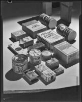 Packaged food products on a table, 1928-1939