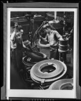 Workers in the factory of the Goodyear Tire and Rubber Company, Los Angeles