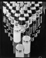 """Mission Dry Sparkling"" beverage bottles arranged in a triangle, Los Angeles, circa 1930"