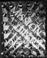 Photomontage with Mission Dry Sparkling beverage bottles arranged in a grid with the logotype above, Los Angeles, circa 1930