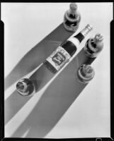 "Overhead view of 5 bottles of ""Mission Dry Sparkling,"" Los Angeles, circa 1930"