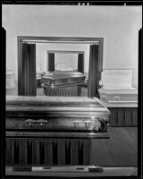 Rooms with coffins at the Pierce Brothers Mortuary, Los Angeles, 1925-1939