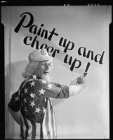 Uncle Sam dressed as a construction worker with a Better Housing Program emblem on his cap, circa 1934