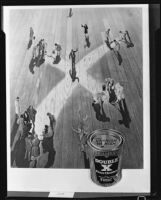 "Photomontage composition with images of small people on a floor with a large ""X"" on it, for an advertisement for ""Double X Floor Cleaner,"" circa 1934"