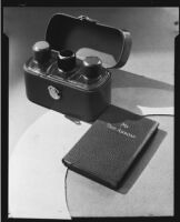 Travel flask set and travel diary at the Brock & Company jewelry and gift store, Los Angeles, 1930