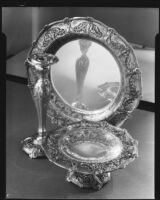 Sterling silver tableware at the Brock & Company jewelry and gift store, Los Angeles, 1928-1938