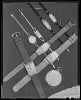 Nine watches at the Brock & Company jewelry and gift store, Los Angeles, 1928-1938