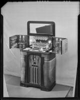 Radiobar with the bar cabinet open at the Brock & Company jewelry and gift store, Los Angeles, 1935-1938