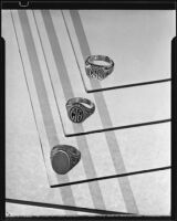 Signet rings at the Brock & Company jewelry and gift store, Los Angeles, 1928-1938