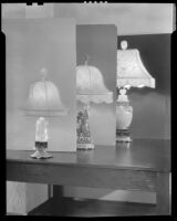 Table lamps made from Asian-inspired sculpture at Brock & Company jewelry and gift store, Los Angeles, 1928-1938