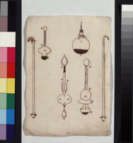 """Roma. Disegni di strumenti per misurare il peso dell'acqua, chiamati """"caraffine idrostatiche,"""" o piuttosto idrometriche."""