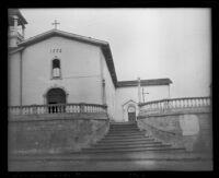 Mission San Luis Obispo de Tolosa, exterior view towards main facade of the church, San Luis Obispo, 1913
