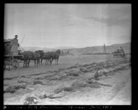West Indio Date Plantation with a wagon and team of horses, Thermal (vicinity), 1913