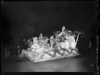 """Rock of Gibralter"" float at the Electrical Parade in the Memorial Coliseum, Los Angeles, 1932"